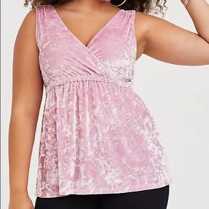 Torrid Pink Velvet Babydoll Top